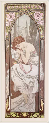 Wood print  The Times of the Day - Night's Rest - Alfons Mucha