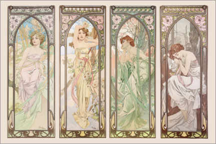 Acrylic print  The Times of the Day - Alfons Mucha