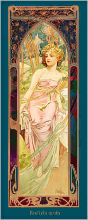 Canvas print  Times of the Day - Morning Awakening - Alfons Mucha