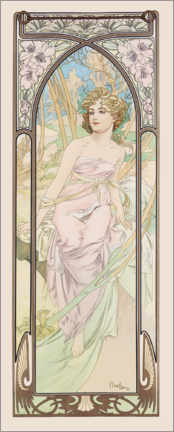 Wood print  The Times of the Day - Morning Awakening - Alfons Mucha