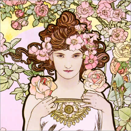 Wood print  The Flowers - The Rose (detail) - Alfons Mucha