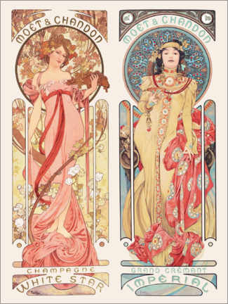 Wood print  Moet & Chandon - Alfons Mucha