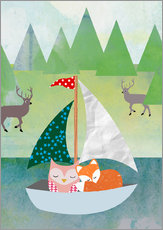 Gallery print  Cute Owl and Fox Boat - GreenNest