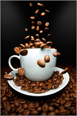 Gallery print  Falling coffee beans cup - pixelliebe
