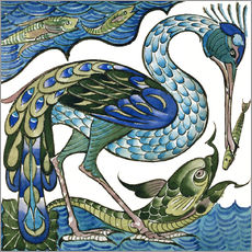 Wall sticker  Heron and Fish - Walter Crane