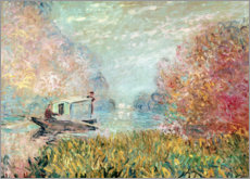 Aluminium print  The Boat Studio on the Seine - Claude Monet