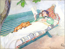 Gallery print  Woman lying on a bench - Carl Larsson