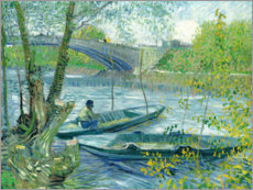 Wood print  Angler and boat at the Pont de Clichy - Vincent van Gogh