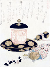 Wall sticker  A Pot of Tea and Keys - Katsushika Hokusai