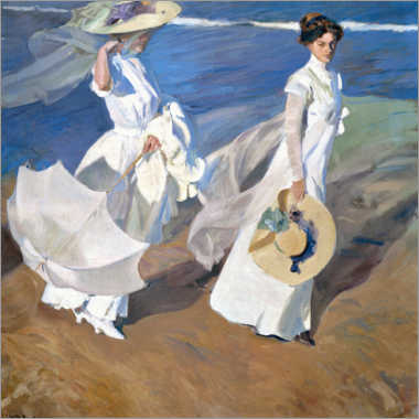 Wood print  Strolling along the seashore - Joaquín Sorolla y Bastida