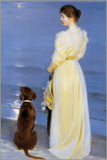 Gallery print  Summer Evening at Skagen. The Artist's Wife and Dog by the Shore - Peder Severin Krøyer
