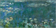 Wall sticker  Waterlilies, Green Reflections - Claude Monet
