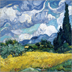 Wood print  Wheat field with cypresses - Vincent van Gogh
