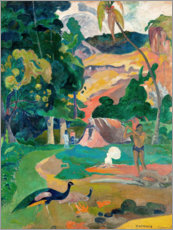 Foam board print  Landscape with peacocks - Paul Gauguin