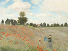 Wood print  Poppy field at Argenteuil - Claude Monet
