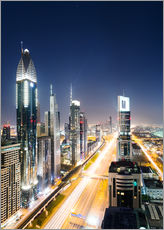 Gallery Print  Dubai city skyline at night, United Arab Emirates - Matteo Colombo