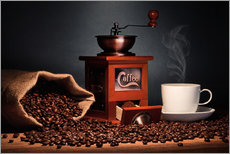 Wall sticker  Coffee grinder with beans and coffee cup - pixelliebe