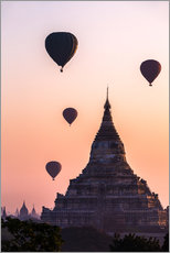 Wall sticker  Temple at sunrise with balloons flying, Bagan, Myanmar - Matteo Colombo