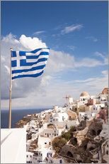Gallery print  Greek flag and village. Oia, Santorini, Greece - Matteo Colombo