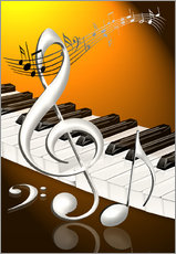 Gallery print  dancing notes with clef and piano keyboard - Kalle60