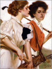 Premium poster  Two Ladies Playing Golf - Joseph Christian Leyendecker