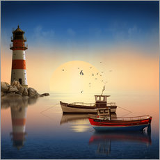 Wall sticker  The morning peace at the lighthouse - Monika Jüngling