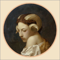 Gallery print  Female head crowned with ram horns - Jean Leon Gerome