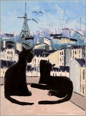 Gallery print  Cats and doves over Paris - JIEL