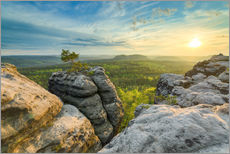 Gallery print  Sunset on Gohrisch in Saxon Switzerland - Michael Valjak