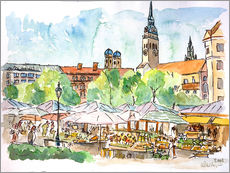 Gallery print  Munich Food Market Square Day in Summer Aquarell - M. Bleichner