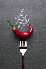Gallery print  red chili peppers with fire - pixelliebe