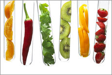 Gallery print  Fruit and vegetables in test tubes