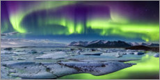 Wall sticker  Iceland: Auroras above the glacier lagoon (panorama) - Sascha Kilmer