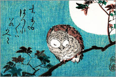 Wall sticker  Sleeping owl full moon - Utagawa Hiroshige
