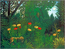 Gallery print  Exotic landscape with tiger and hunters - Henri Rousseau
