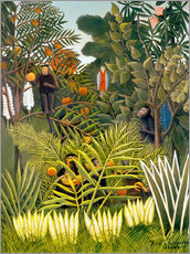 Wall sticker  Exotic landscape with monkeys and a parrot - Henri Rousseau