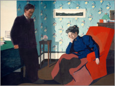 Wood print  Interior With Red Armchair and Figures - Felix Edouard Vallotton
