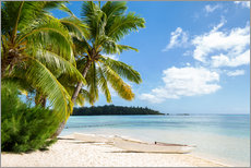Gallery print  Beach with palm trees and turquoise ocean in Tahiti - Jan Christopher Becke