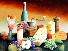 Gallery print  Stil life with coffee grinder, fruits and cheese - Gerhard Kraus