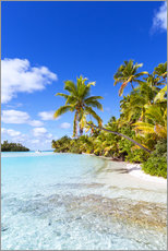 Wall sticker  Beautiful tropical beach with palms, One Foot Island, Cook Islands, Pacific - Matteo Colombo