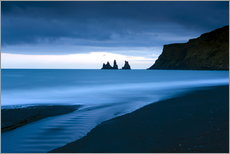 Gallery print  Twilight view towards rock stacks at Reynisdrangar off the coast at Vik, South Iceland, Iceland, Pol - Lee Frost