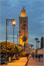 Wall sticker  The Minaret of Koutoubia Mosque illuminated at night, UNESCO World Heritage Site, Marrakech, Morocco - Martin Child