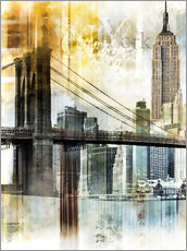 Gallery print  Skyline New York Fraktal II - Städtecollagen