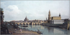 Foam board print  Dresden and the Augustusbrücke - Bernardo Bellotto (Canaletto)