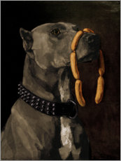 Foam board print  Great Dane with sausages - Wilhelm Trübner
