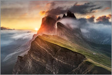 Wall sticker  Sunrise in the Dolomites at Seceda - Andreas Wonisch