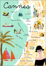 Wall sticker  Cannes vintage Collage - GreenNest