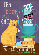 Wall sticker  Tea, books and a cat - Elisandra Sevenstar