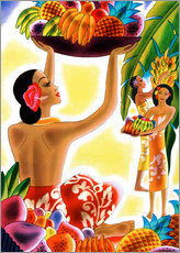 Wall sticker  Hawaiian Women Harvesting Fruit