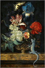 Premium poster  Tulips and other flowers in a vase - Willem van Aelst